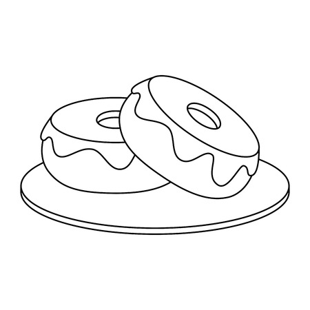 sweet donuts icon over white background vector illustration Ilustração