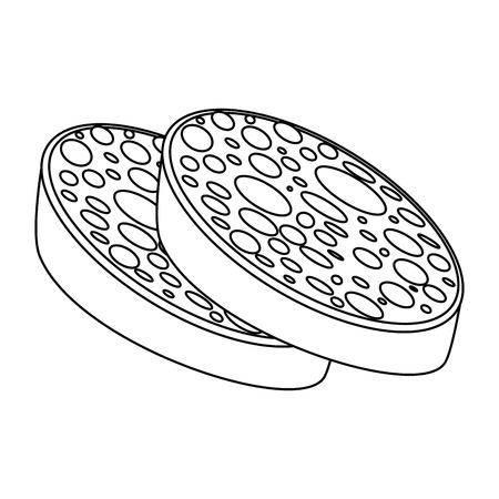 白い背景のベクトル図にサラミ アイコン