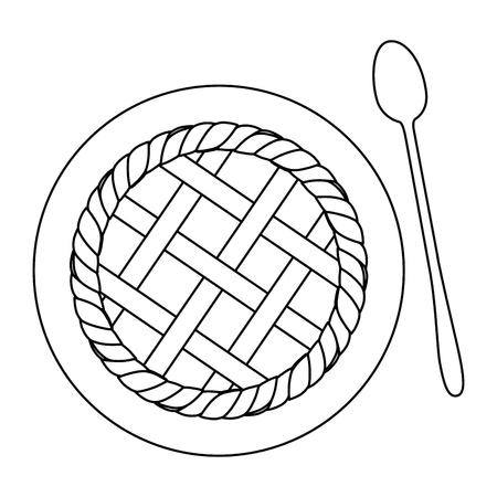 Icône de tarte aux pommes sur illustration vectorielle fond blanc Banque d'images - 84665815