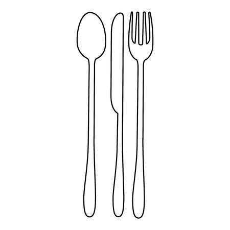 lepel vork en mes pictogram over witte achtergrond vectorillustratie Vector Illustratie