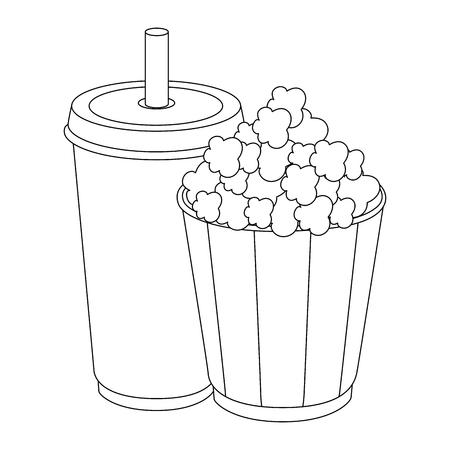 팝 옥수수 양동이 및 흰색 배경 벡터 일러스트 레이 션을 통해 청량 음료 컵 아이콘