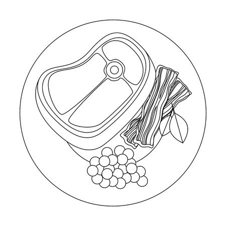 흰색 배경 벡터 일러스트 레이 션 위에 고기 스테이크 아이콘으로 미식가 접시 일러스트