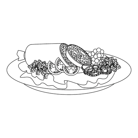 gourmet dish with salami and salad icon over white background vector illustration Banco de Imagens - 84665834