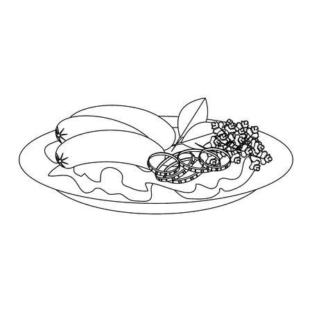 gourmet dish with sausages icon over white background vector illustration Ilustração