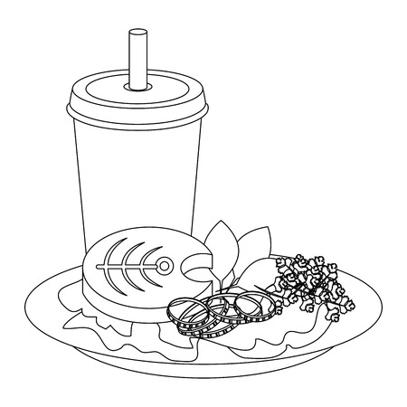 dish with fish and salad icon over white background vector illustration Çizim