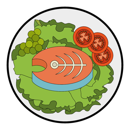 dish with fish and salad icon over white background vector illustration Ilustração