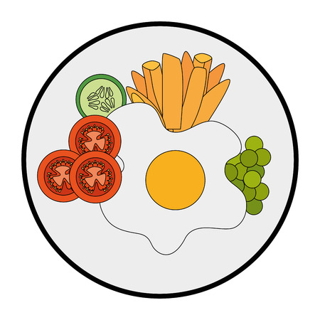 gourmet dish with fried egg icon over white background vector illustration Imagens - 84665922