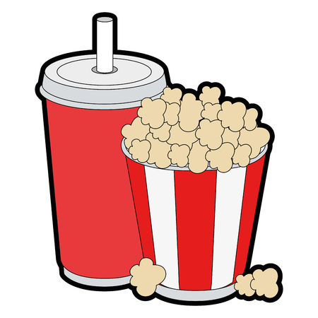 pop corn bucket and soft drink cup icon over white background vector illustration