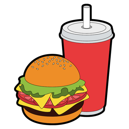 hamburger and drink cup  icon over white background vector illustration Ilustração