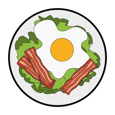 Gastronomische schotel met gebakken eipictogram over witte vectorillustratie als achtergrond Stockfoto - 84665932