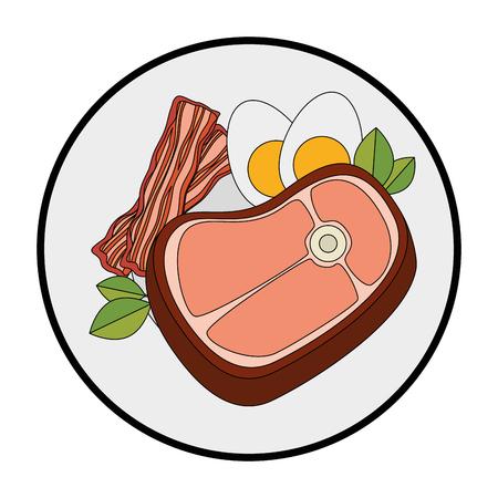 白い背景ベクトル図の上肉ステーキ アイコンとグルメ料理