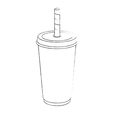 soft drink cup icon over white background vector illustration Illustration