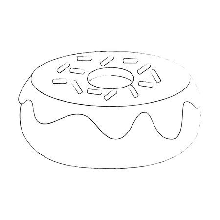 sweet donut icon over white background vector illustration Illustration