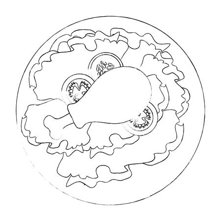 Plato gourmet con icono de pierna de pollo sobre fondo blanco ilustración vectorial Foto de archivo - 84666013