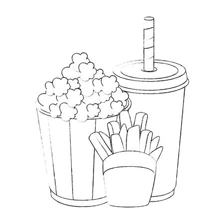 ポップコーン バケツと白い背景上のソフトド リンク カップ アイコン ベクトル イラスト  イラスト・ベクター素材