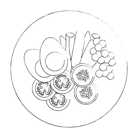 白い背景のベクトル図をグルメなサラダ皿アイコン
