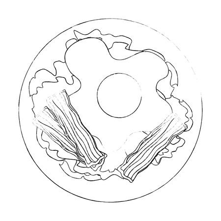 gastronomische schotel met gebakken eipictogram over witte vectorillustratie als achtergrond