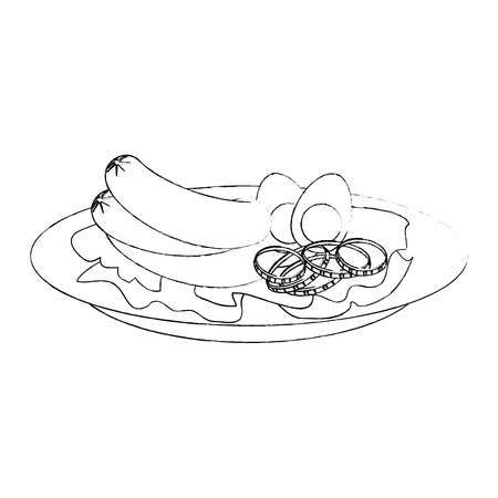 gourmet dish with sausages icon over white background vector illustration Çizim