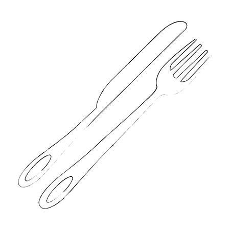 vork en mes pictogram over witte achtergrond vectorillustratie Stock Illustratie