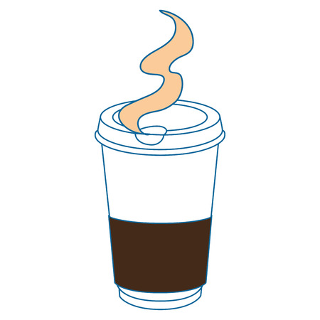 hot coffee cup icon over white background vector illustration