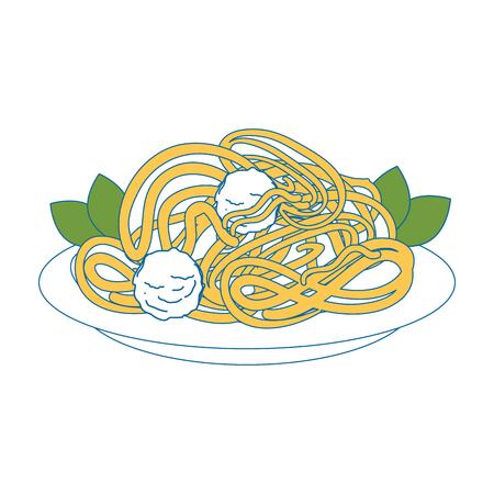 spaghetti dish icon over white background vector illustration