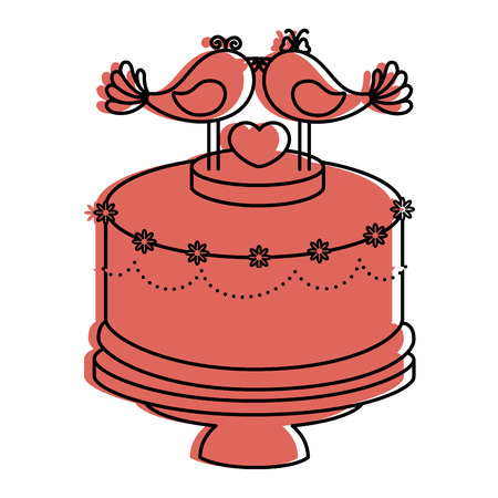 Cute wedding cake icon vector illustration graphic design Illustration