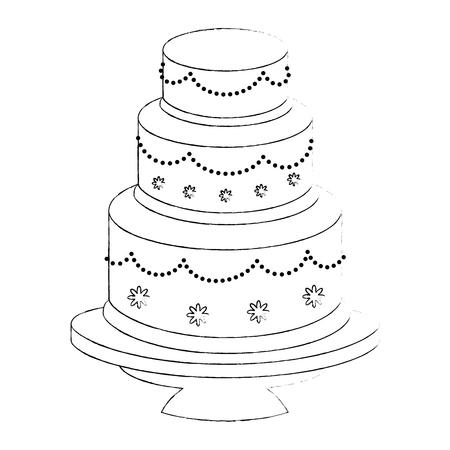 Cute wedding cake icon vector illustration graphic design Çizim
