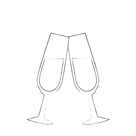 Illustrazione vettoriale icona di tazza di champagne carino illustrazione grafica Archivio Fotografico - 84649300