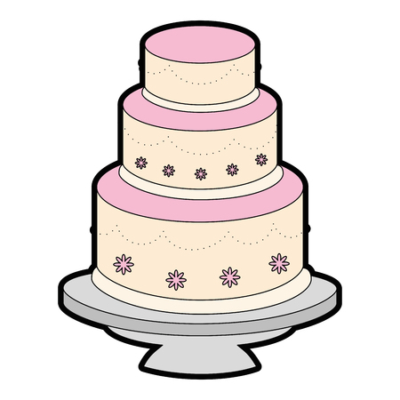 Cute wedding cake icon vector illustration graphic design Иллюстрация