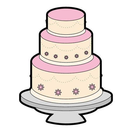 Nette Hochzeitstorte Symbol Vektor-Illustration Grafik-Design Standard-Bild - 84649470