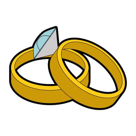 カップルの結婚指輪のアイコン ベクトル イラスト グラフィック デザインを分離しました。  イラスト・ベクター素材