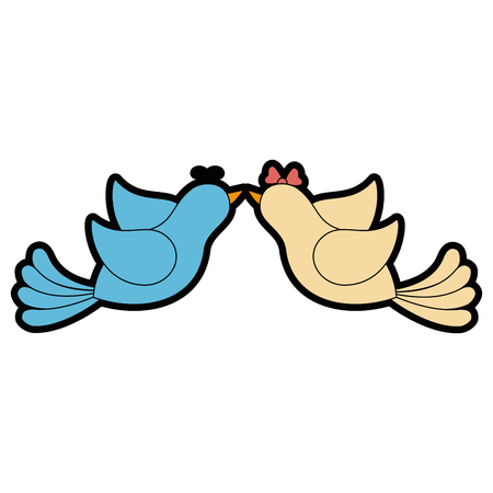 Cute couple of birdies icon vector illustration graphic design