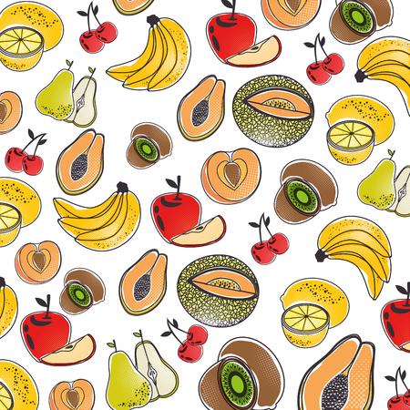 おいしい果物背景アイコン ベクトル イラスト グラフィック デザイン