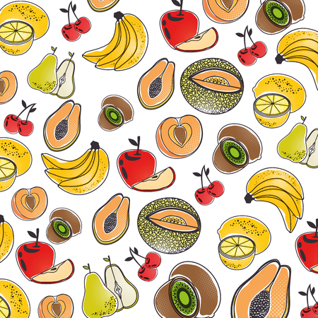 Delicious fruits background icon vector illustration graphic design Illustration
