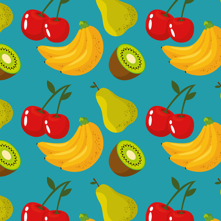 Delicious fruits background icon vector illustration graphic design Çizim