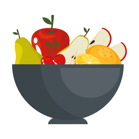 Früchte auf Teller Icon Vektor-Illustration Grafik-Design