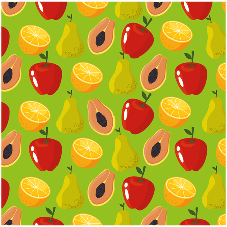 Delicious fruits background icon vector illustration graphic design Ilustração