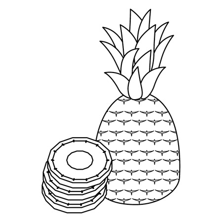 Sweet and delicious pineapple icon vector illustration graphic design Banco de Imagens - 84649580