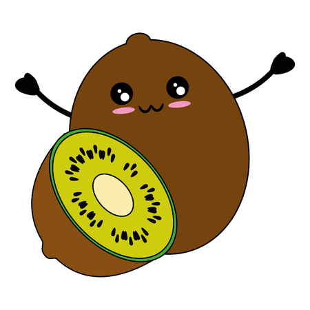 Kiwi delicious fruit cute cartoon icon vector illustration design
