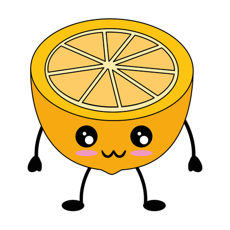 Orange citric fruit cute kawaii cartoon icon vector illustration design Ilustrace