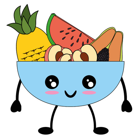 Fruits on dish cute kawaii cartoon icon vector illustration design