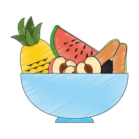 Fruits on dish icon vector illustration graphic design