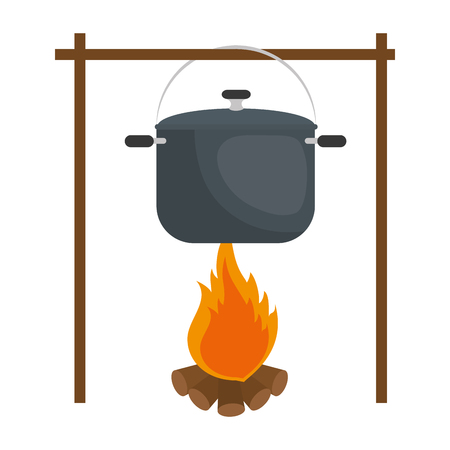 Steel cooking pot icon vector illustration graphic design Иллюстрация