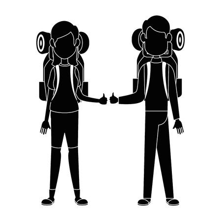 배낭 아이콘 벡터 일러스트 그래픽 디자인의 커플 일러스트