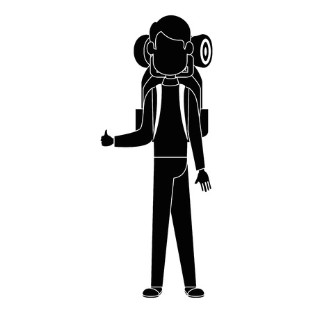 Backpacker faceless cartoon icon vector illustration graphic design