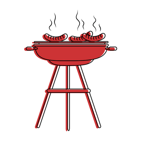 Bbq grill worst pictogram vector illustratie grafisch ontwerp Stockfoto - 84667535