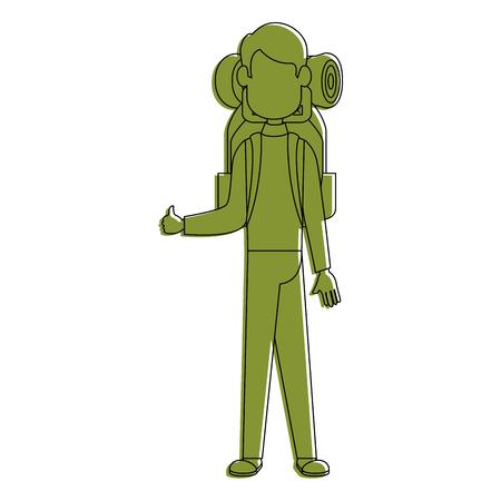 백 패 커 얼굴없는 만화 아이콘 벡터 일러스트 그래픽 디자인