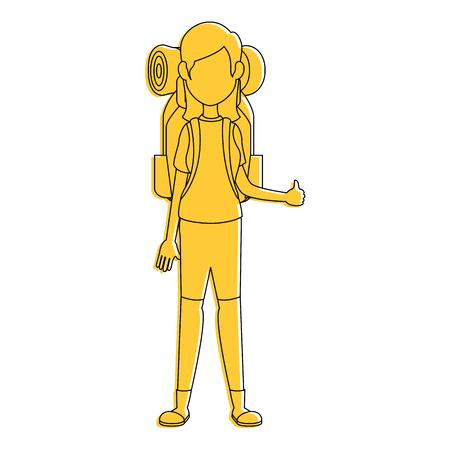 Backpacker faceless cartoon icon vector illustration graphic design