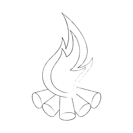 Camping bonfire geïsoleerd pictogram vector illustratie grafisch ontwerp Stock Illustratie