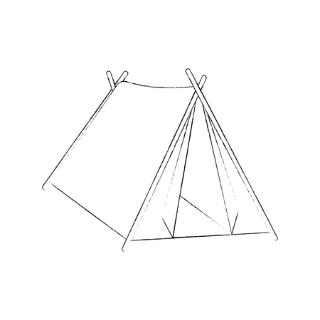 Het kamperen het tent geïsoleerde grafische ontwerp van de pictogram vectorillustratie